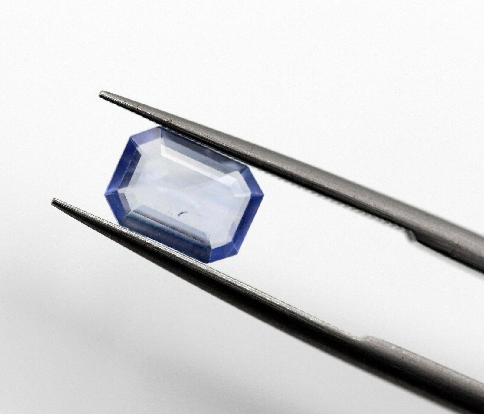 0.82 Ct Blue Sapphire Sri Lanka Octagon Cut Loose Natural Gemstone Light Blue Color Certified