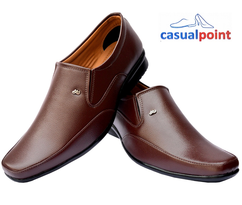 CASUAL POINT GENUINE BROWN STYLE MOCCASINS FORMAL SHOES CP014BRW (BROWN, 7-10, 8 PAIRS)