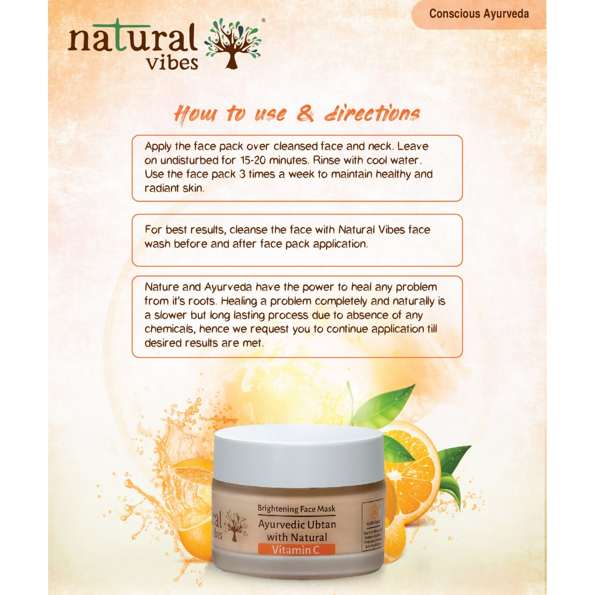 Natural Vibes Ayurvedic Vitamin C Brightening Face Mask/Pack (50 gms)