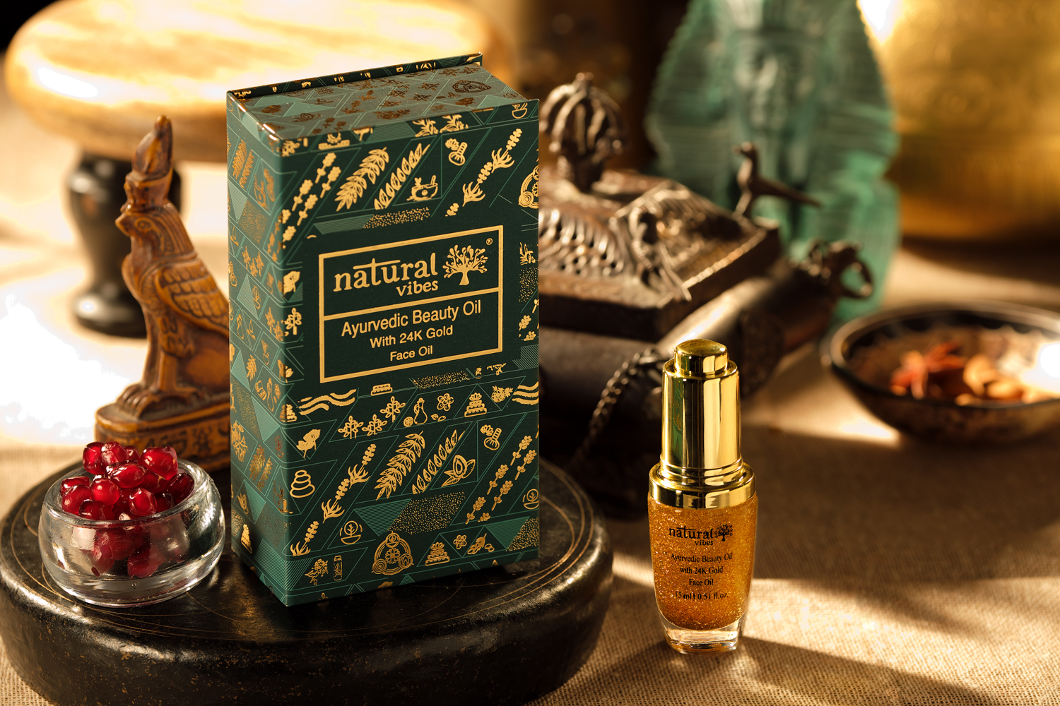 Natural Vibes Ayurvedic Beauty Oil With 24K Gold Flakes (15 ml)