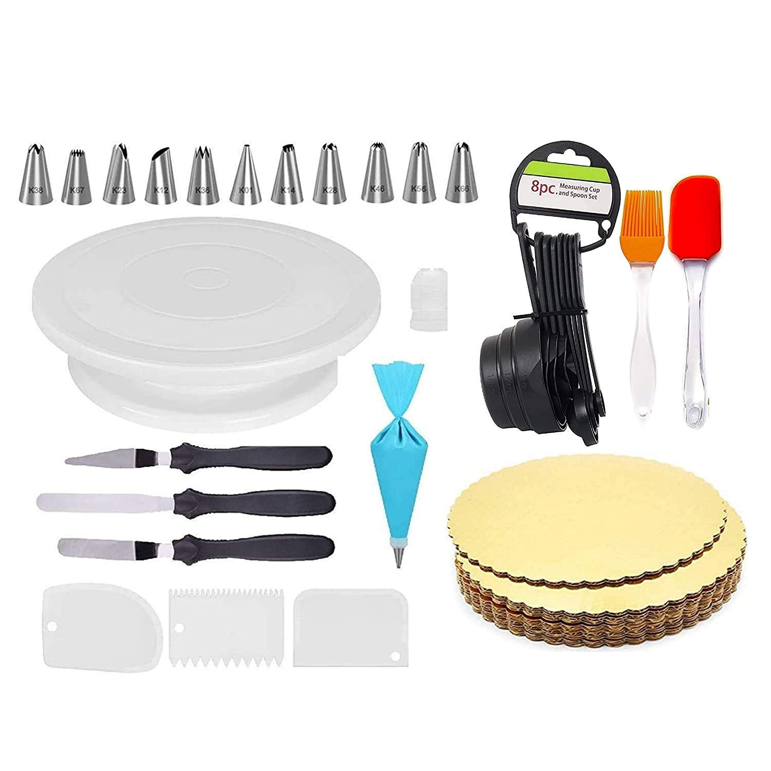 Cake Turntable, 12 Piece Cake Decorating Nozzle Set, 3 In 1 Multi Function Knife Set, 3 Side Scrapper,Cake Board 5 Piece, 8 Measuring Cups And Spoon,