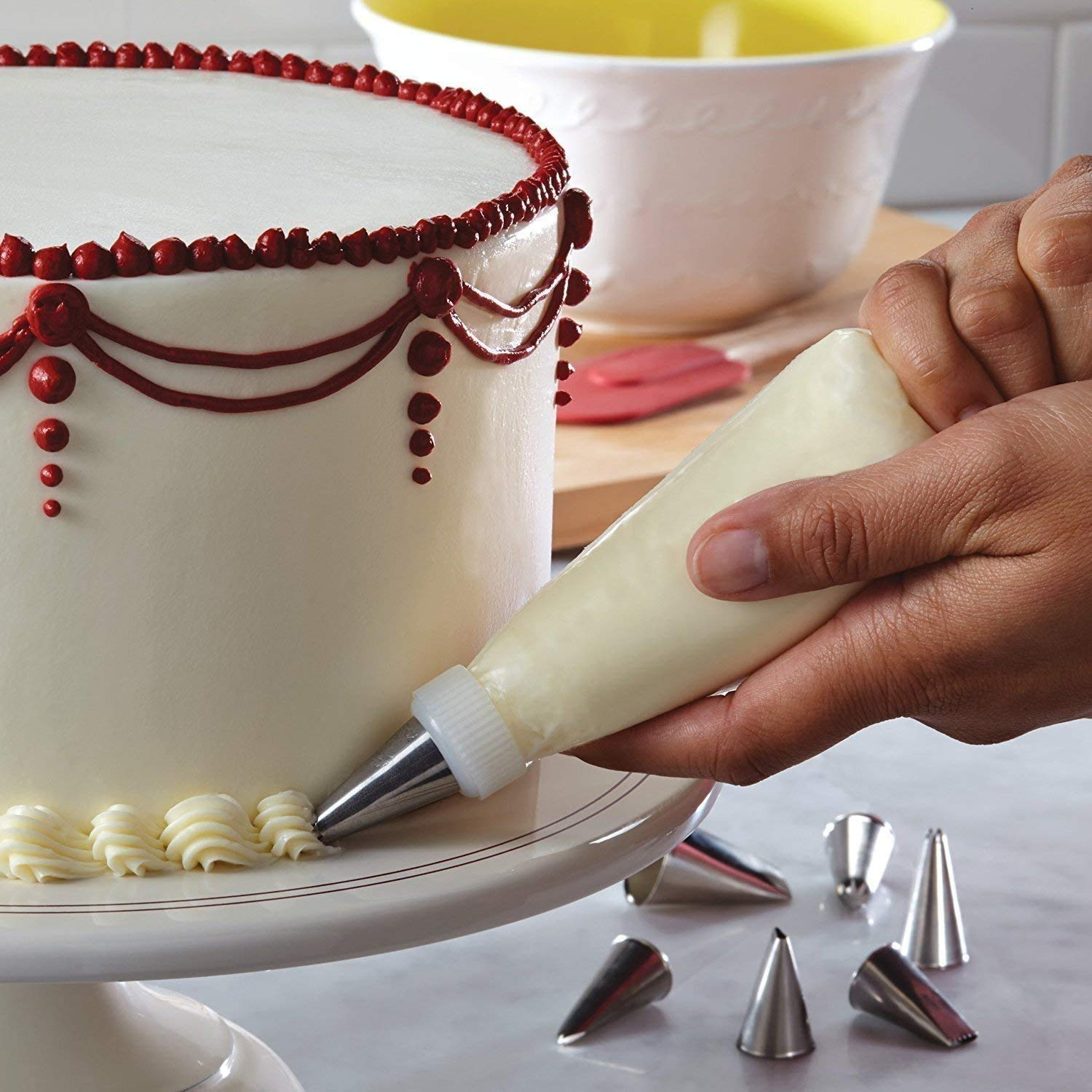 Cake Combo Of Cake Making Turn Table 7 Inch Stainless Steel Spatula, 12 Piece Of Cake Decoration Nozzles With Icing Bag And 3 Pieces Of Dough Scrapper