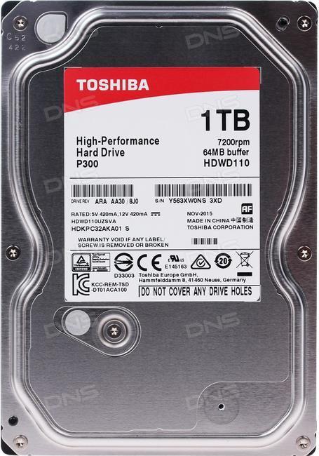 "Toshiba 1TB Internal Sata 3.5"" Hard Drive (HDWD110UZSVA)"