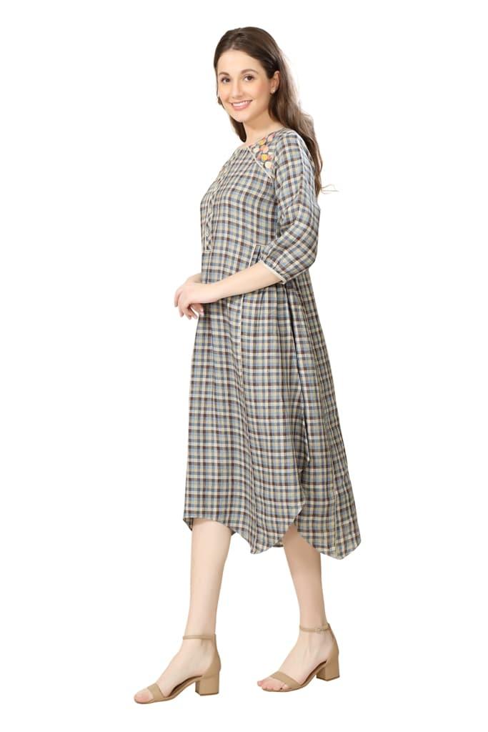 190256 Stone Checkered Dress (XS,Grey)