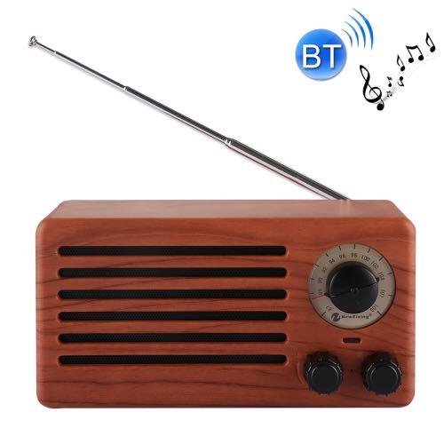 NR-3013 Mini Wood Texture Creative Retro FM Radio Wireless Bluetooth Speaker - Walnu