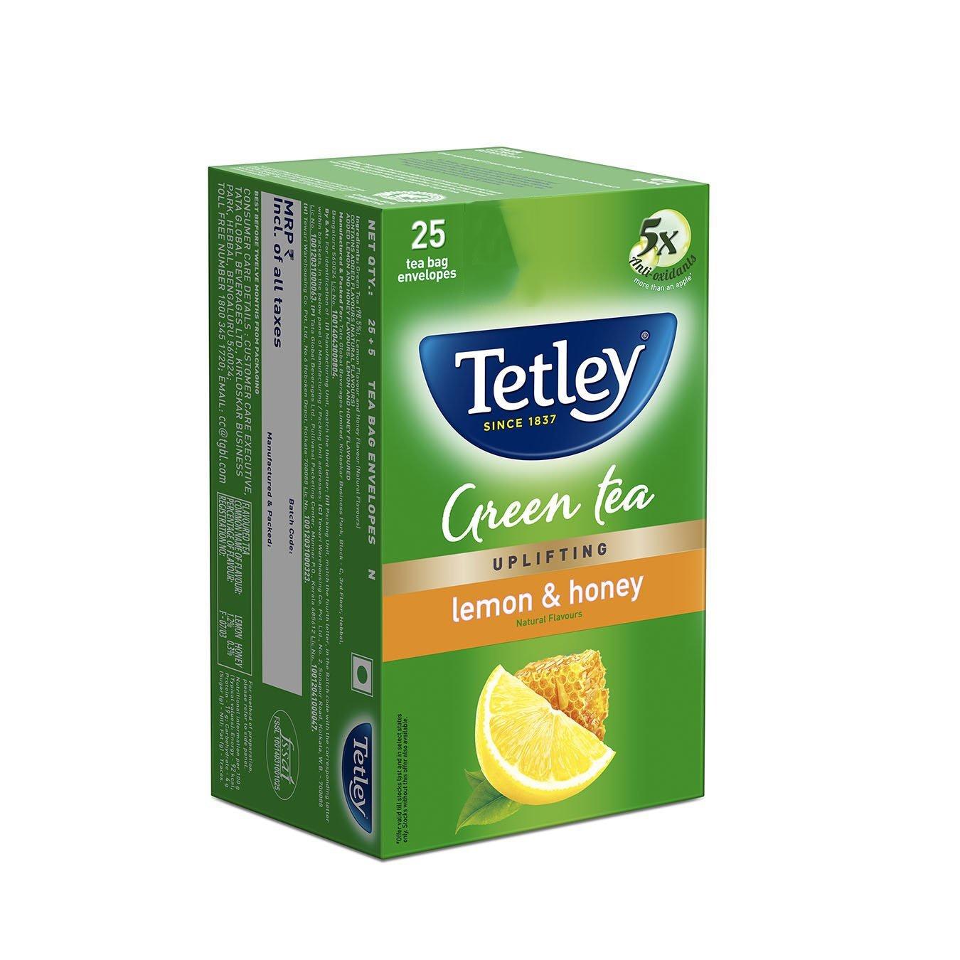 Tetley Lemon & Honey Green Tea 25 Pc
