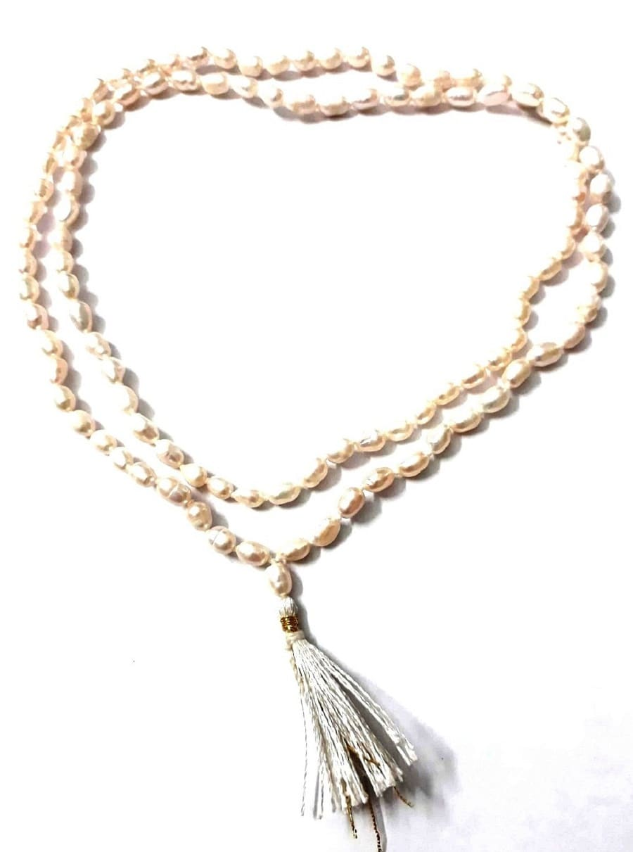Numeroastro Natural & Original Pearl/Moti Mala (Oval Shape Small Beads) For Good Luck (108+1)