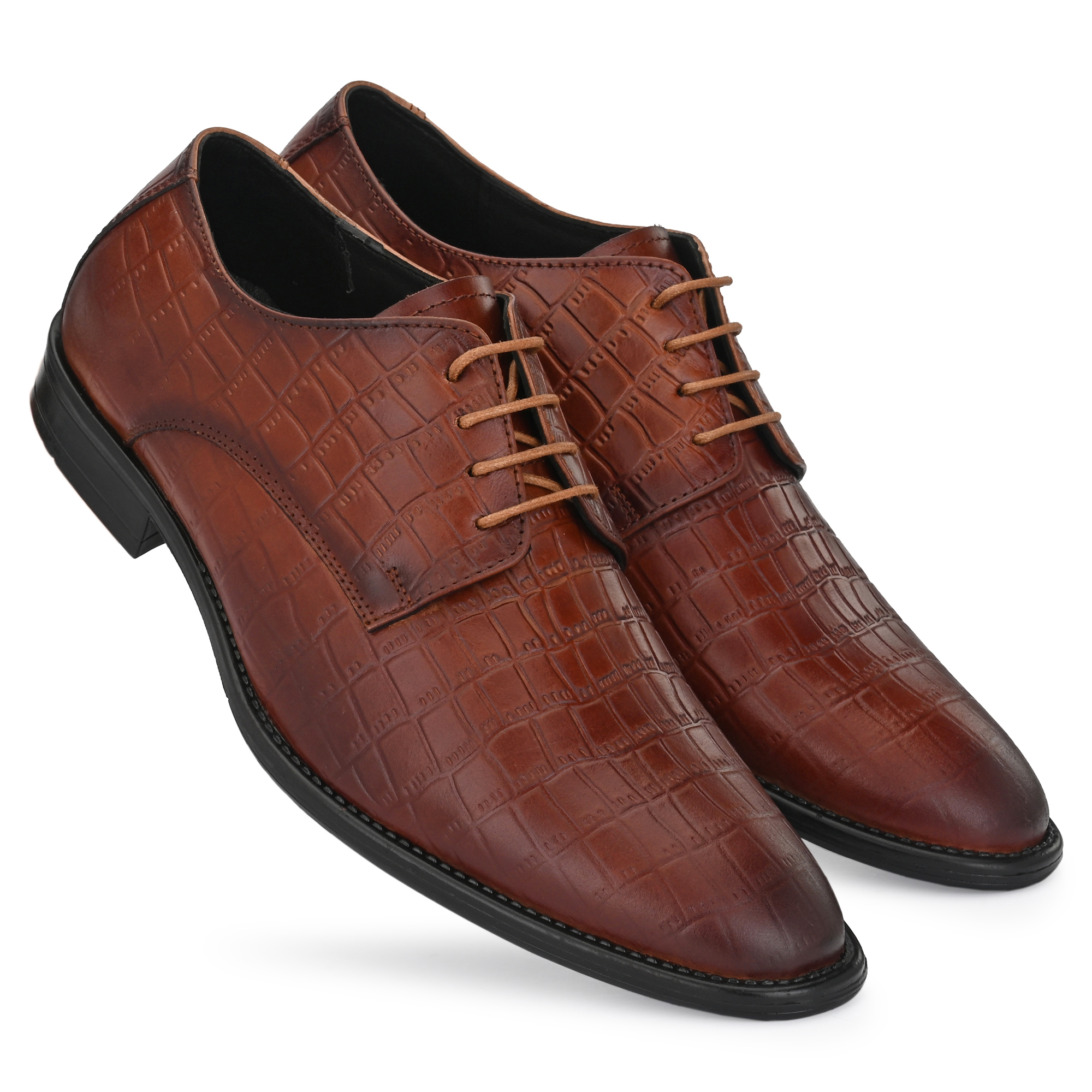 BRIFAR COMFORTABLE & TRENDY GENUINE LEATHERS FORMAL SHOES ARE RELIABLE FOR ANY MJ10BR (6-9, BROWN, 4 PAIR)