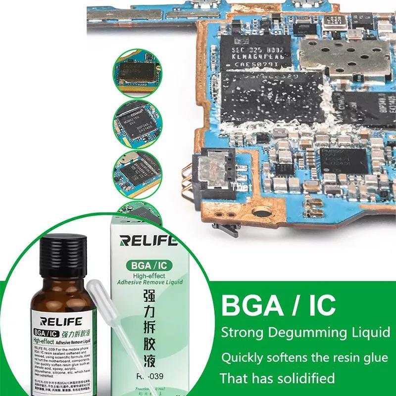RELIFE RL-039 Liquid Soften Remove Resin Glue PCB BGA IC Chip Solid Glue REMOVER LIQUID ( 20ML )