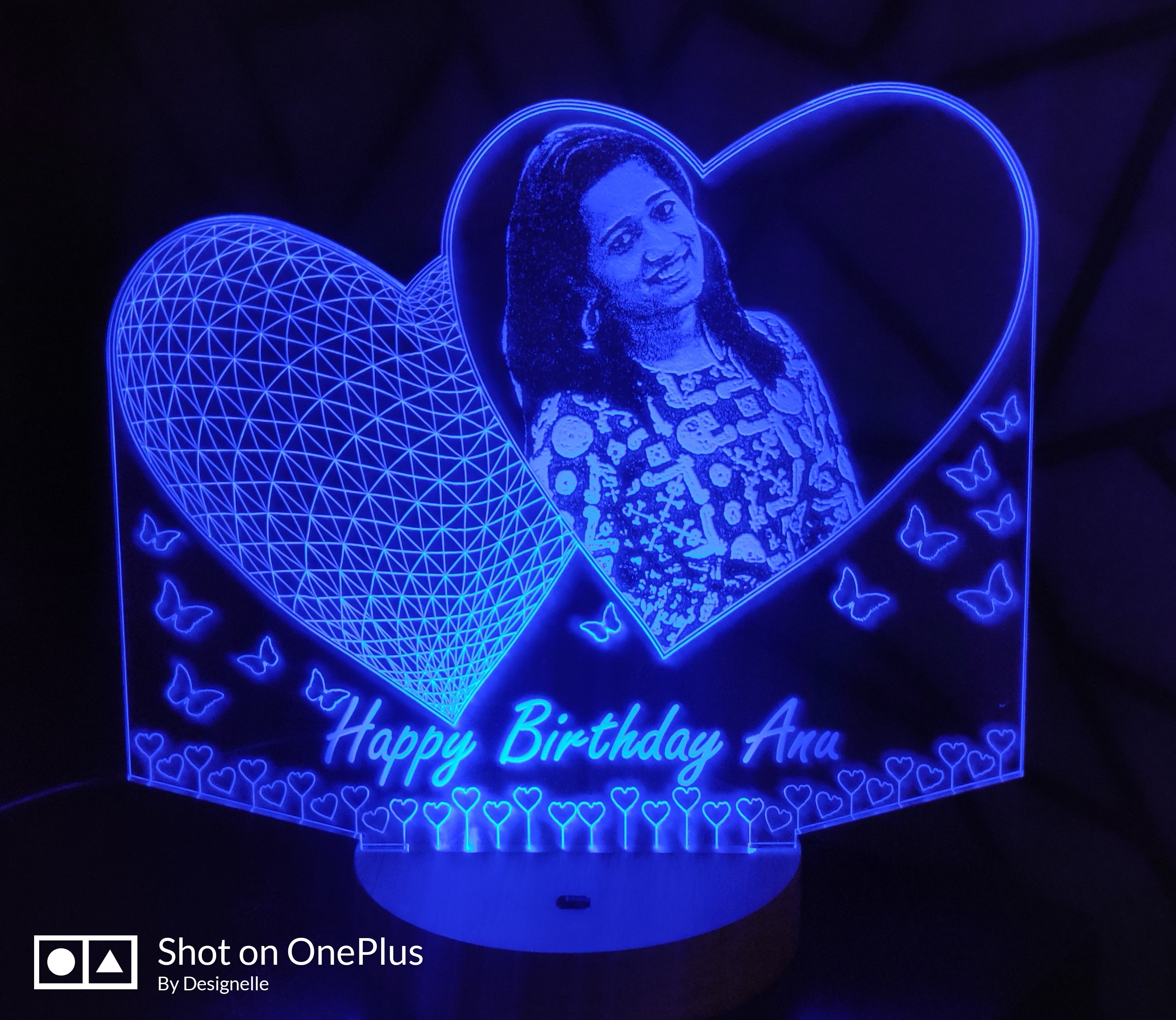 Designelle 2 Heart Shape 3D Illusion Photo LED Lamp