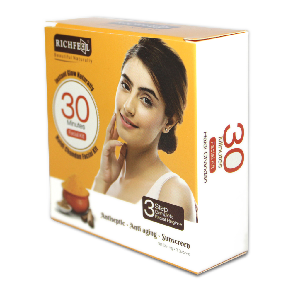 Richfeel Haldi Chandan Facial Kit- One Time Use Facial Kit With Scrub, Cream And Face Pack (18 gm)