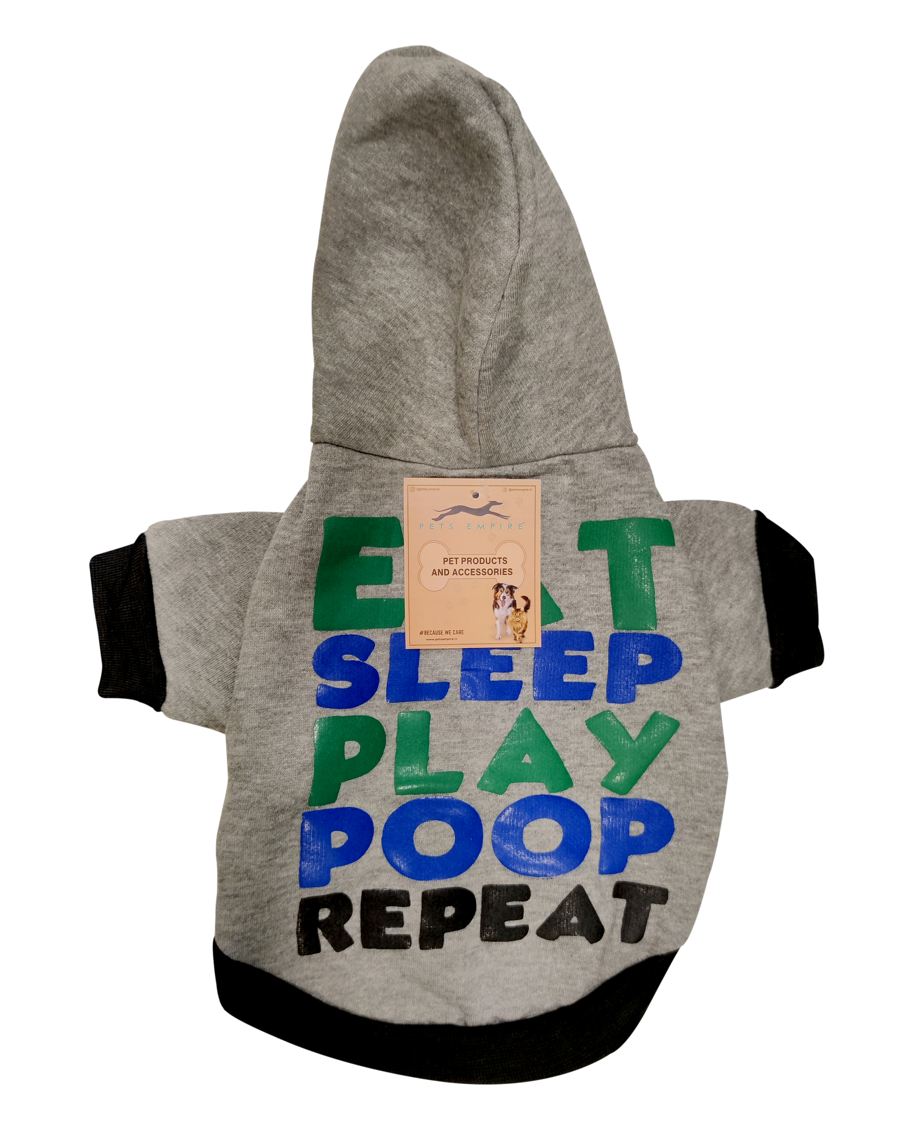 Pets Empire Eat Sleep Play Poop Repeat Dog Coats Chihuahua Clothes Sweatshirt Pet Puppy Cat Jacket ,Pack Of 1 (24 INCH, Grey)