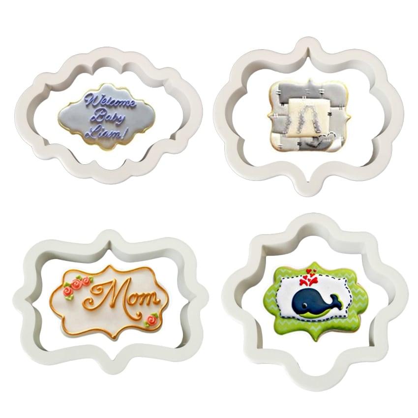 4 PCs Plastic Vintage Plaque Frame Cookie Fondant Biscuit Clay Cutter Set - Divena In