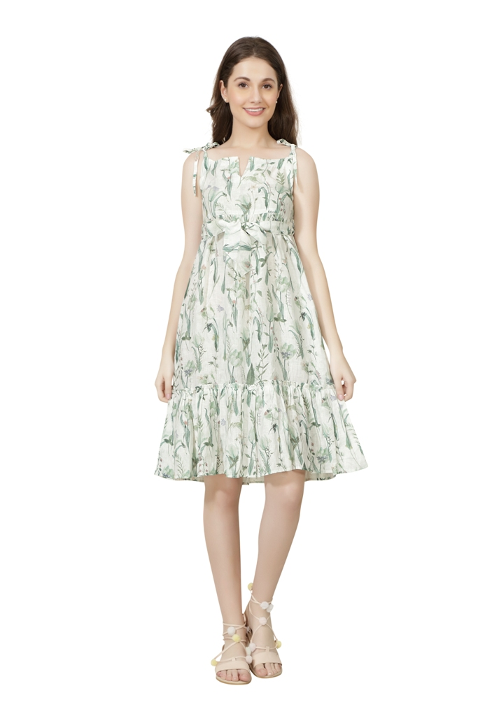 E205 The Mana Ash Frill Dress XS - Light Green (S,Light Green)