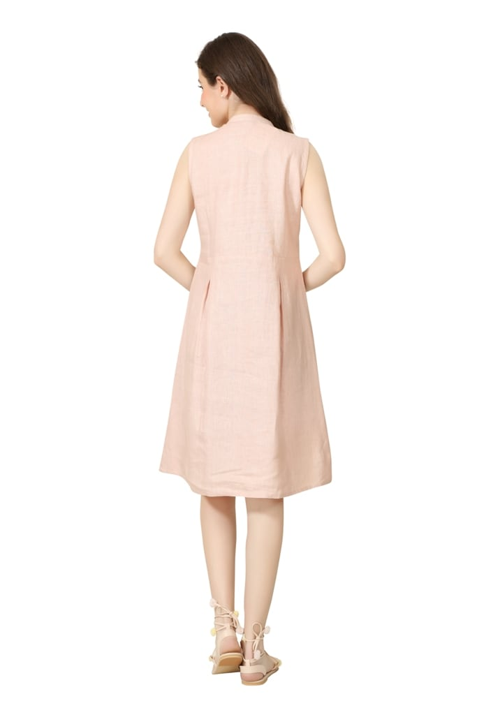 E 203 Blush Pink Shift Dress With Lace Detail (XS,Pink)