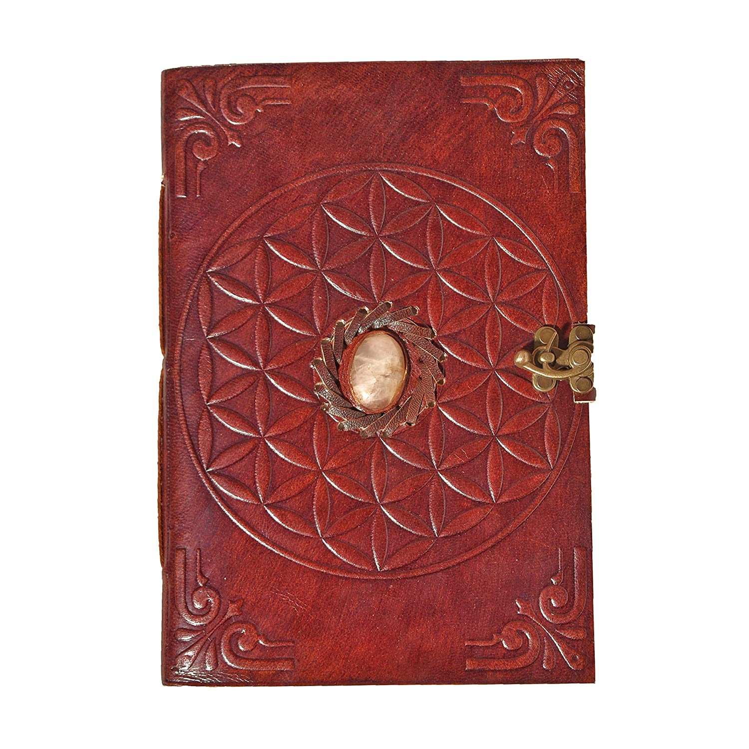 Leather Stone Brown Embossed Handmade Diary With Metal Lock A- 4