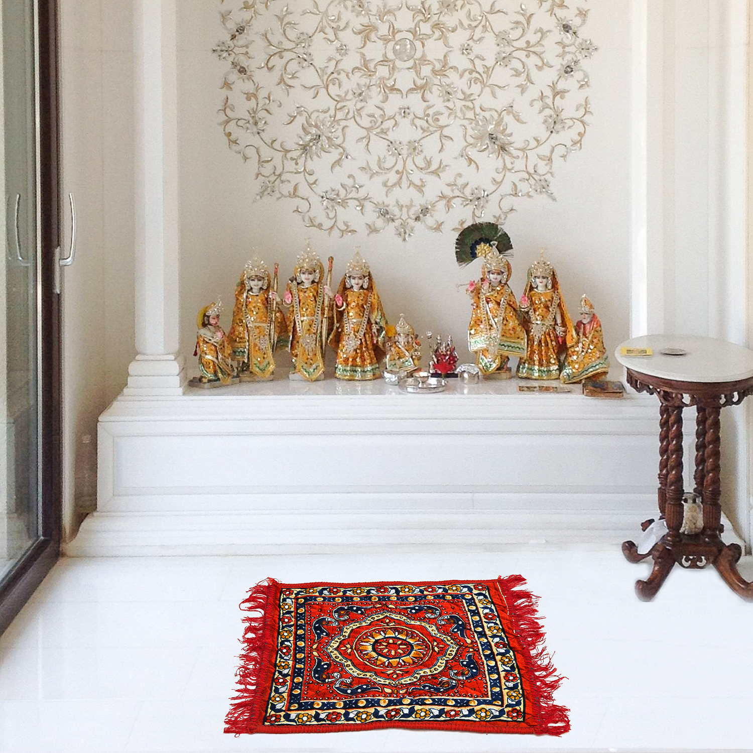 Puja Prayer Mat For Sitting In Pooja Room (velvet Printed)