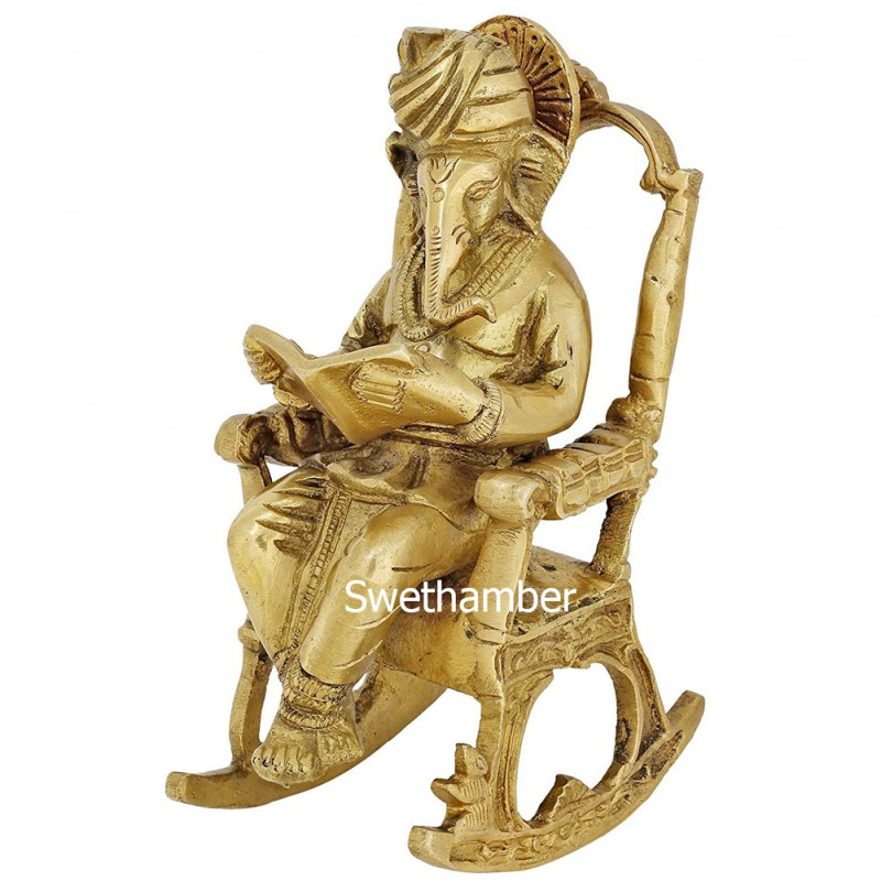 Brass Well Carved Antique Finish Idol Of Lord Ganesha MH726