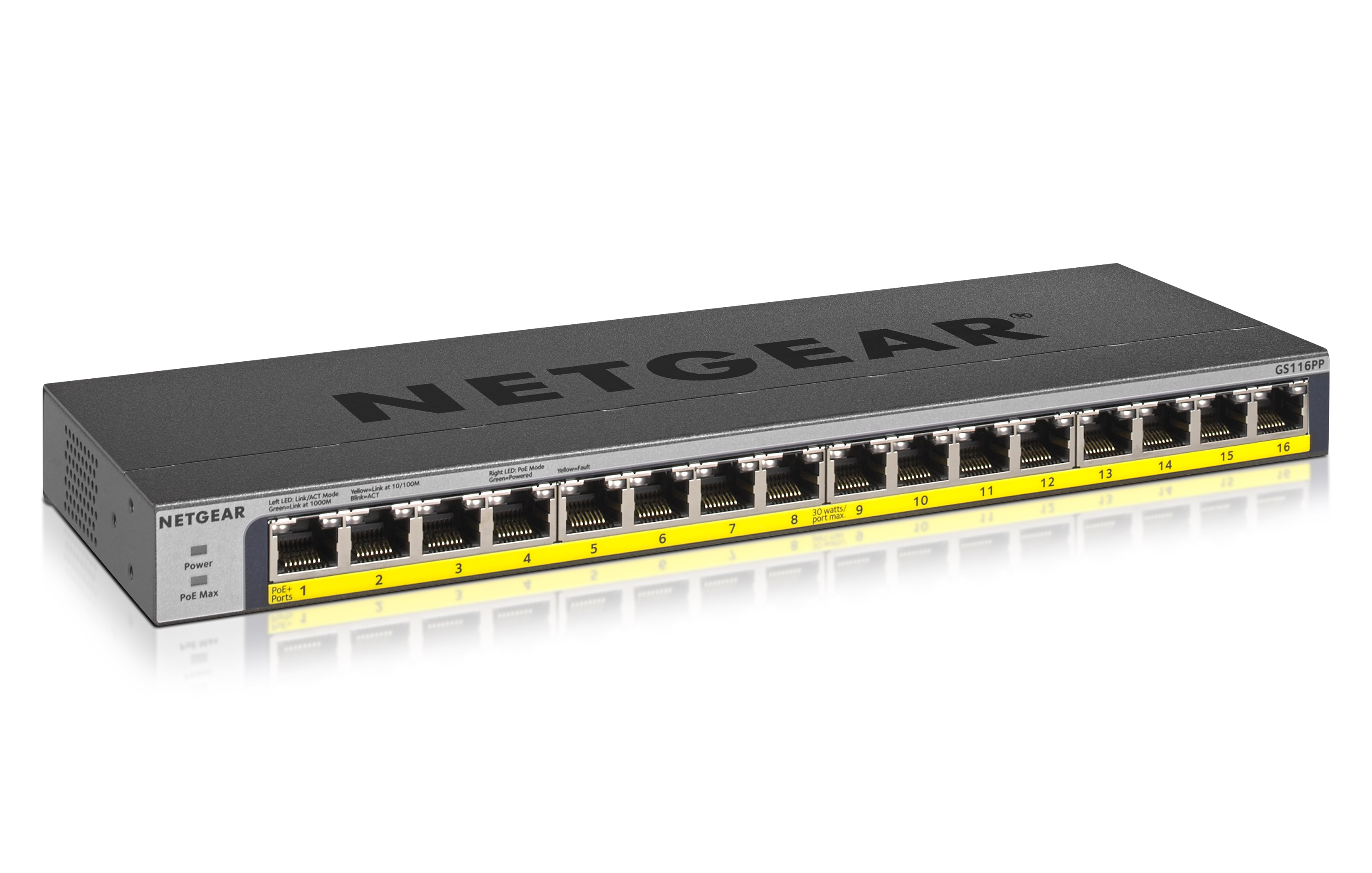 16-PORT GIGABIT ETHERNET HIGH-POWER UNMANAGED SWITCH WITH FLEXPOE