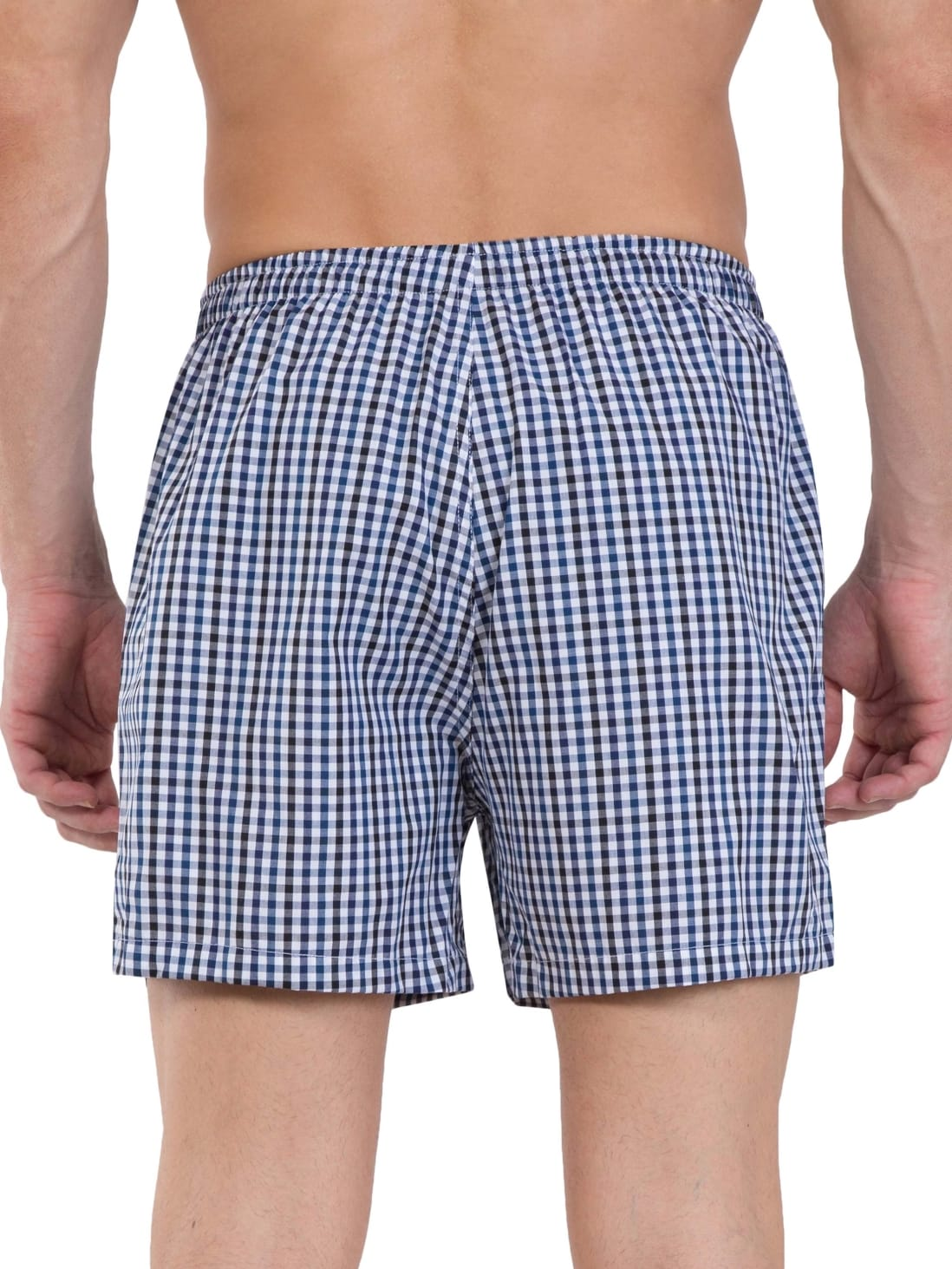 Jockey Mid Blue & Assorted Checks Boxer (Pack Of 2) (M,Mid Blue)