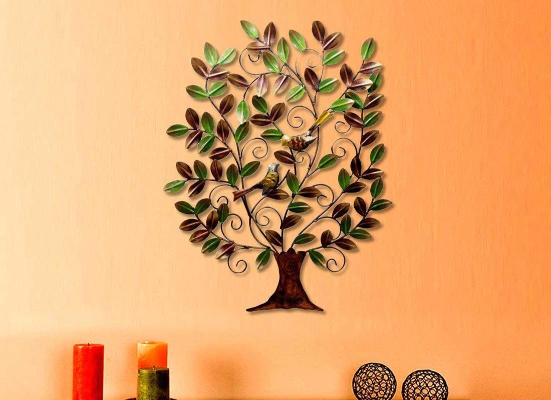 Multicolored Tree Birds On Branches Wall Art Hanging Decor Sculpture