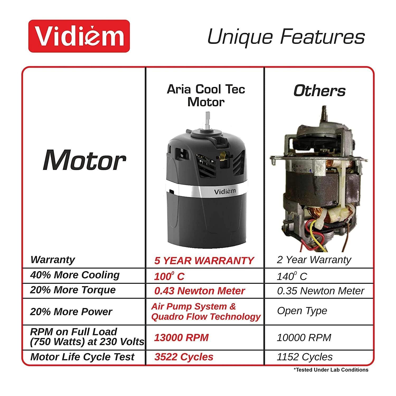 Vidiem ADC MG 579A, 750 Watts Mixer Grinder (Black,With Multi CHEF & 4 Jars)