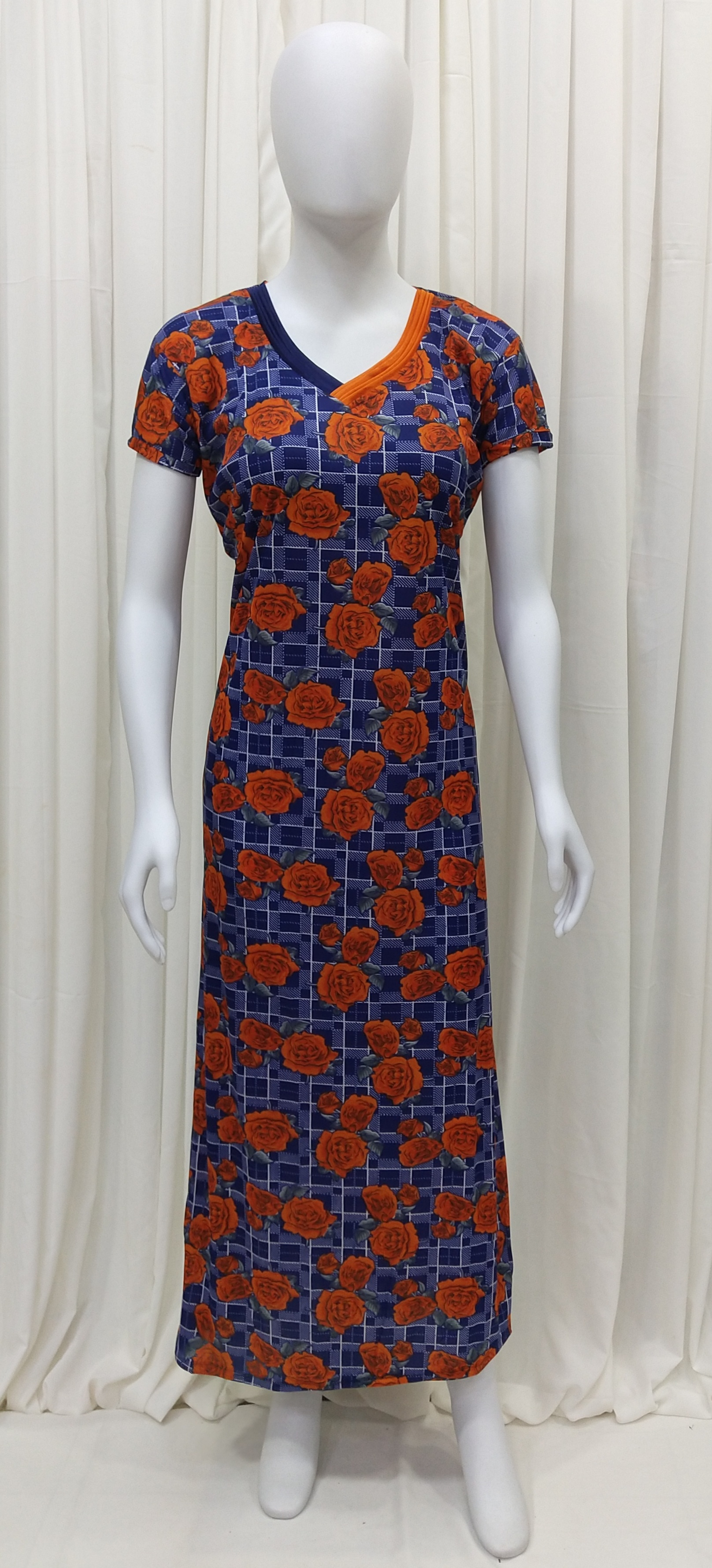 Rose Floral Print With Checkered Design Women Lycra Night Gown (Free Size, Orange Floral)