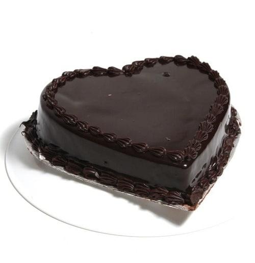 Heart Shape Chocolate Cake - FFCA0HCO (Standard (12:00,15:00),Make it eggless,1.0 Kg)
