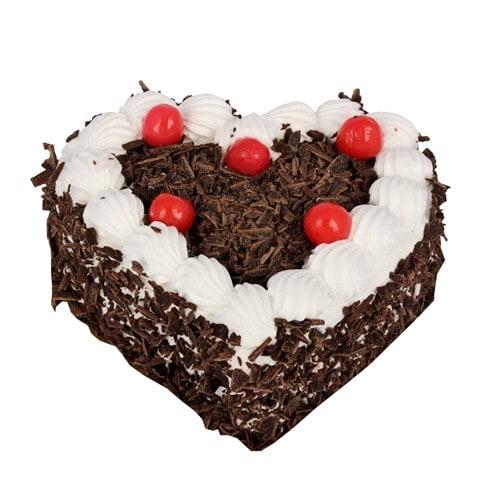 Heart Shape Black Forest Cake - FFCA0HBF (Standard (12:00,15:00),Make it eggless,1.0 Kg)