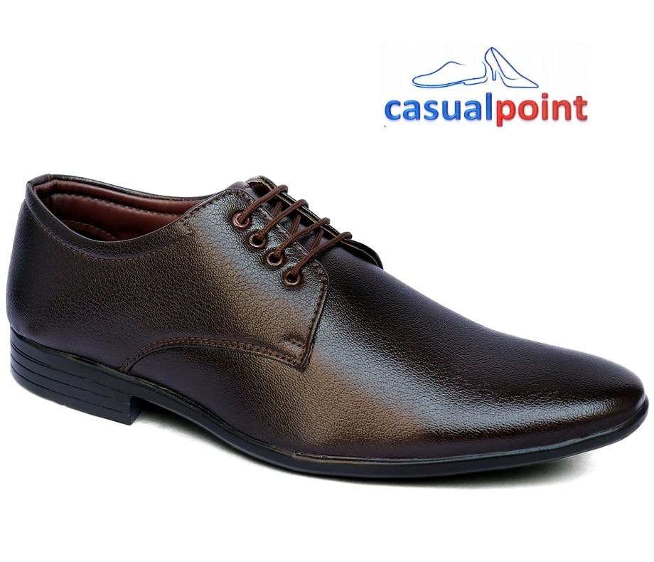 CASUAL POINT GENUINE BROWN PLAIN DERBY FORMAL SHOES CP007BRW (BROWN,7-10,8 PAIRS)