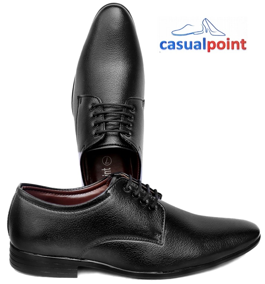 CASUAL POINT GENUINE BLACK PLAIN DERBY FORMAL SHOES  CP007BLK (BLACK,7-10,8 PAIRS)