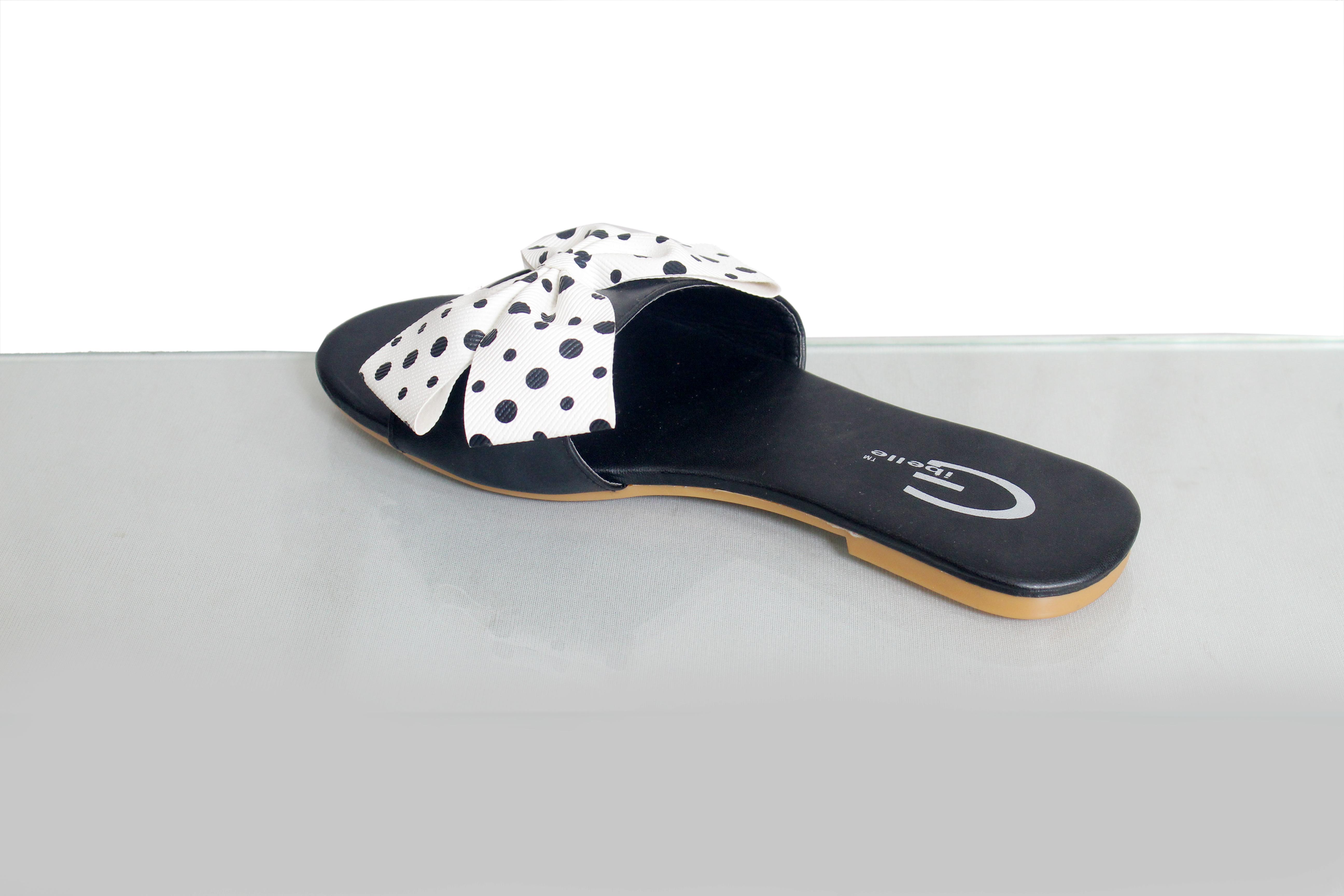 Gibelle Fancy Women's Black Casual Flat Sandals GWF-029-WB (Black, 36-40, 5 PAIR)