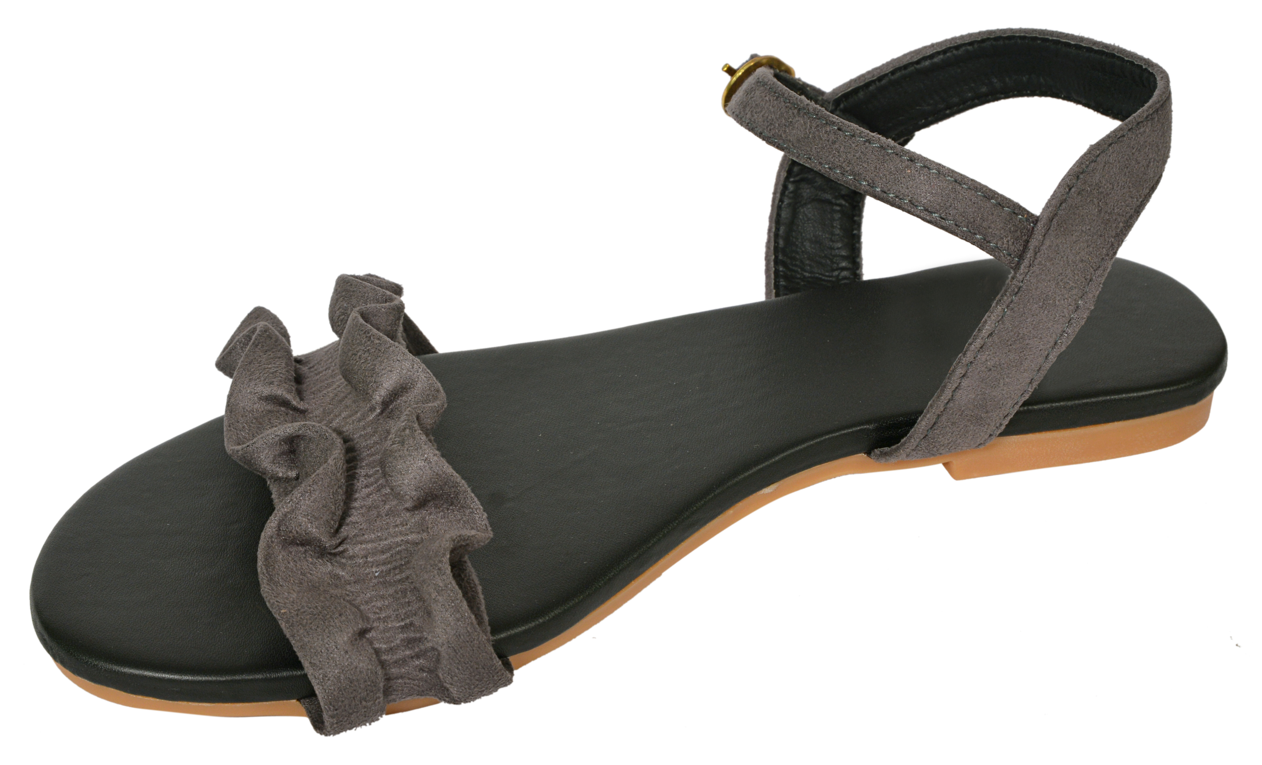 Gibelle Pretty Synthetic Leather Grey Women's Flat Sandal GWF-041-GR (Grey, 36-40, 5 PAIR)