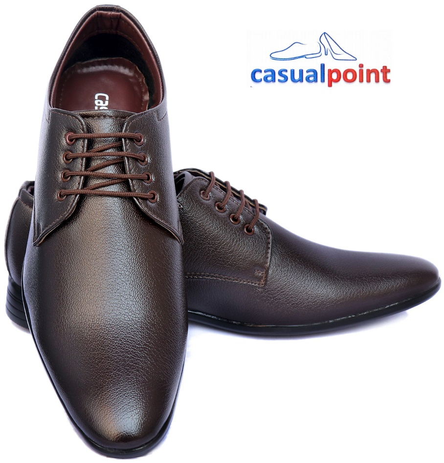 CASUAL POINT GENUINE BROWN PLAIN DERBY FORMAL SHOES CP007BRW (BROWN, 7-10, 8 PAIRS)