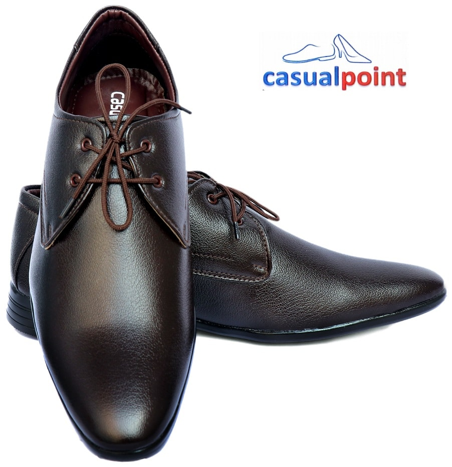 CASUAL POINT GENUINE BROWN DERBY STYLE FORMAL SHOES CP005BRW (BROWN,7-10,8 PAIRS)