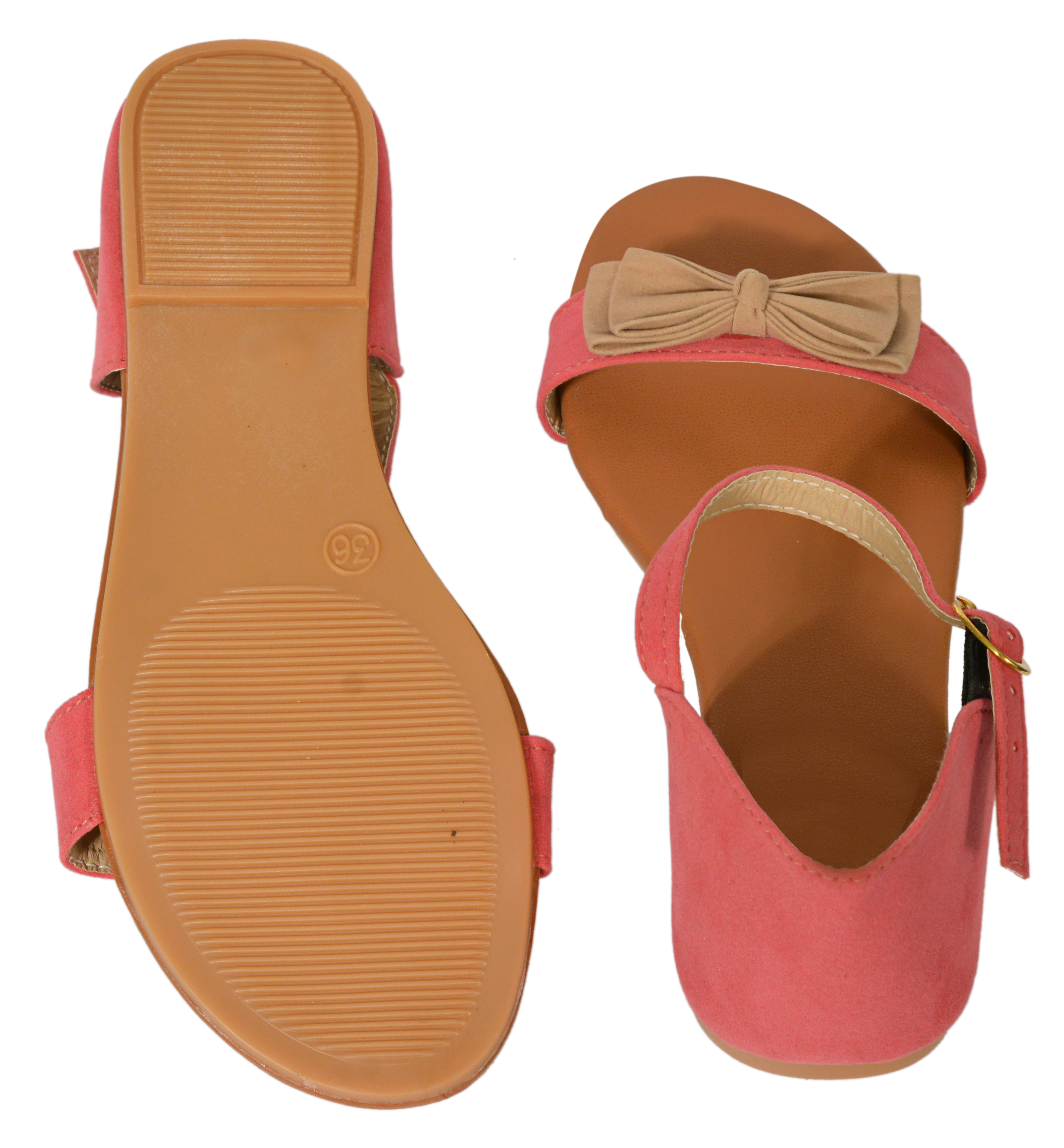 Gibelle Pretty Synthetic Leather Pink Women's Flat Sandal GWF-001-PN (Pink, 36-40, 5 PAIR)