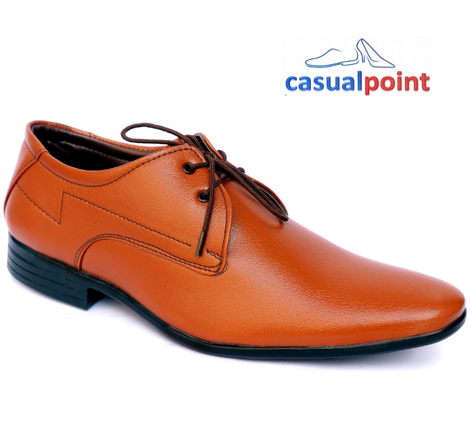CASUAL POINT GENUINE TAN DERBY STYLE FORMAL SHOES CP005TAN (TAN,7-10,8 PAIRS)