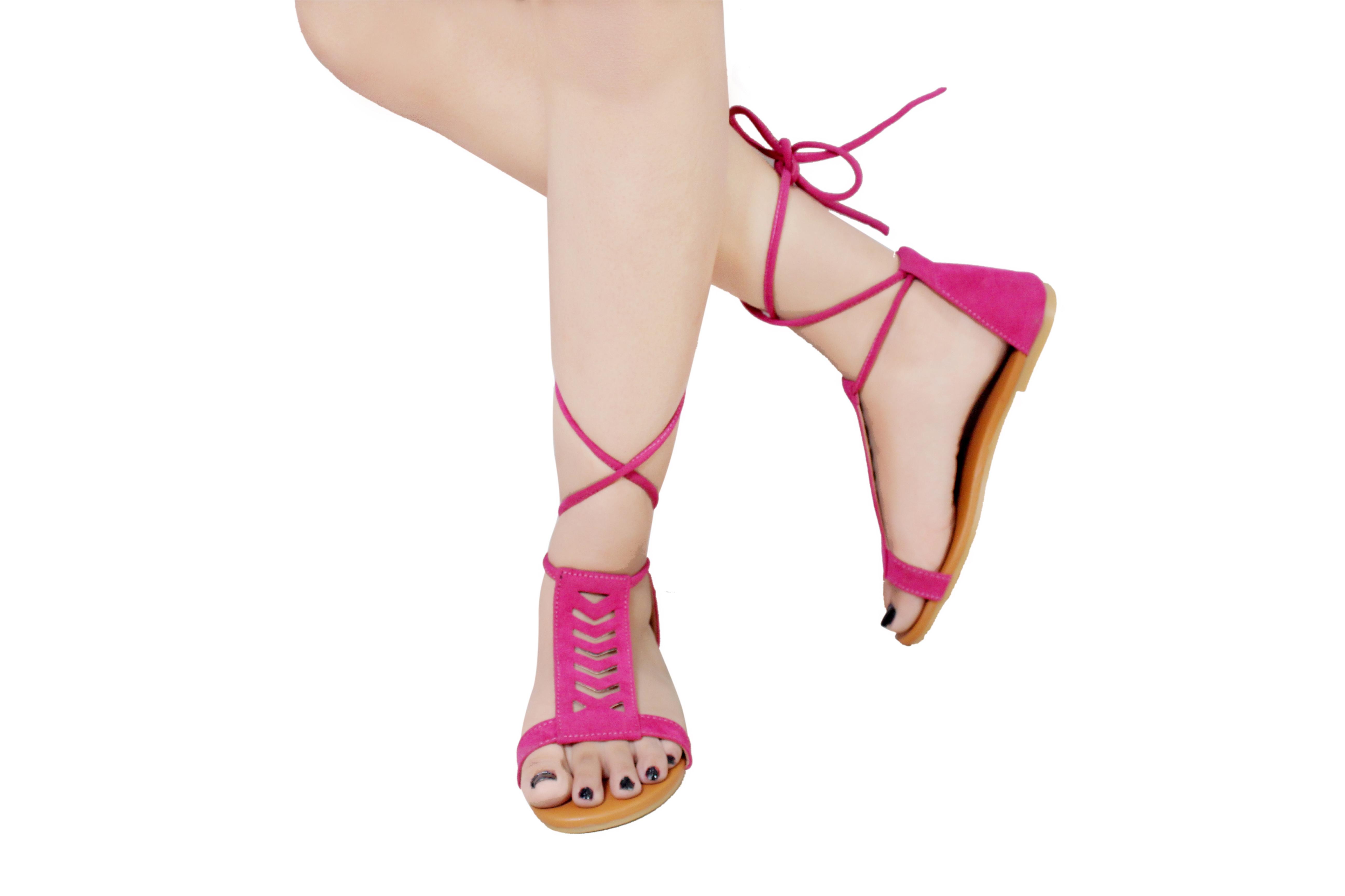 Gibelle Fancy Women's Pink Flat Sandals GWF-010-PN (Pink, 36-40, 5 PAIR)