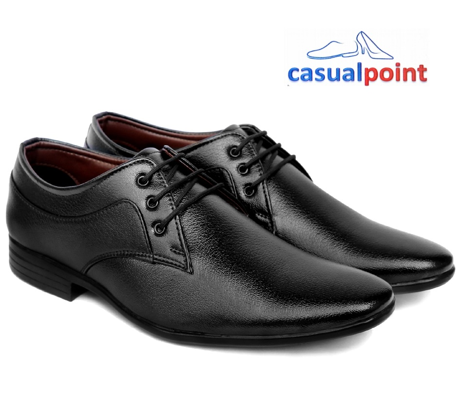 CASUAL POINT GENUINE BLACK LACEUP FORMAL SHOES CP003BLK (BLACK, 7-10, 8 PAIRS)