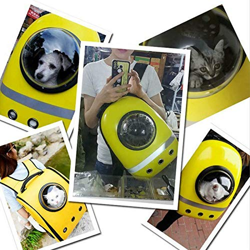 Pets Empire Astronaut Pet Cat Dog Puppy Carrier Travel Bag Space Capsule Backpack Breathable-Color Yellow,Pack Of 1