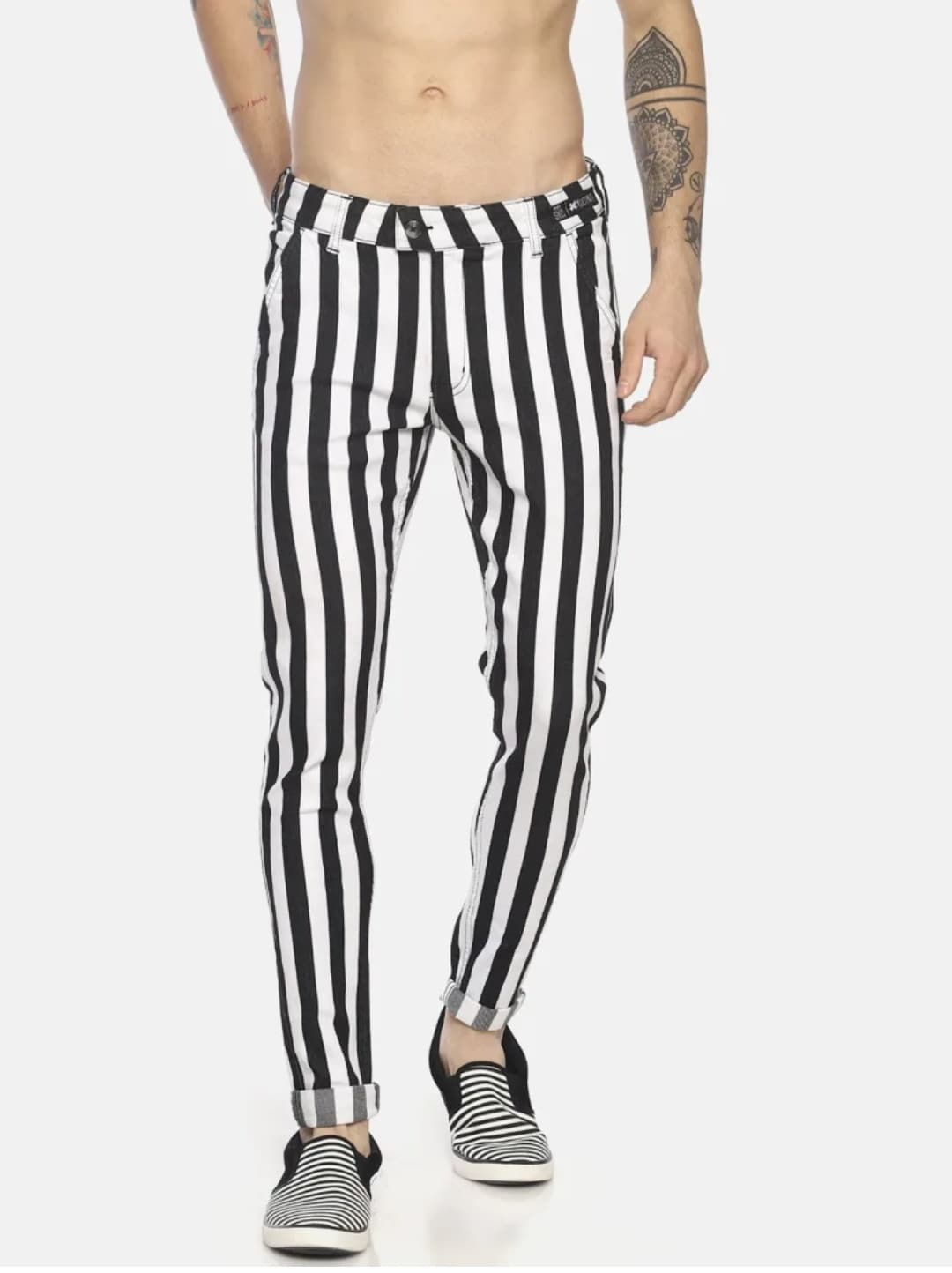 Men's No Wash Printed Stripes Jeans (34,Black & White)