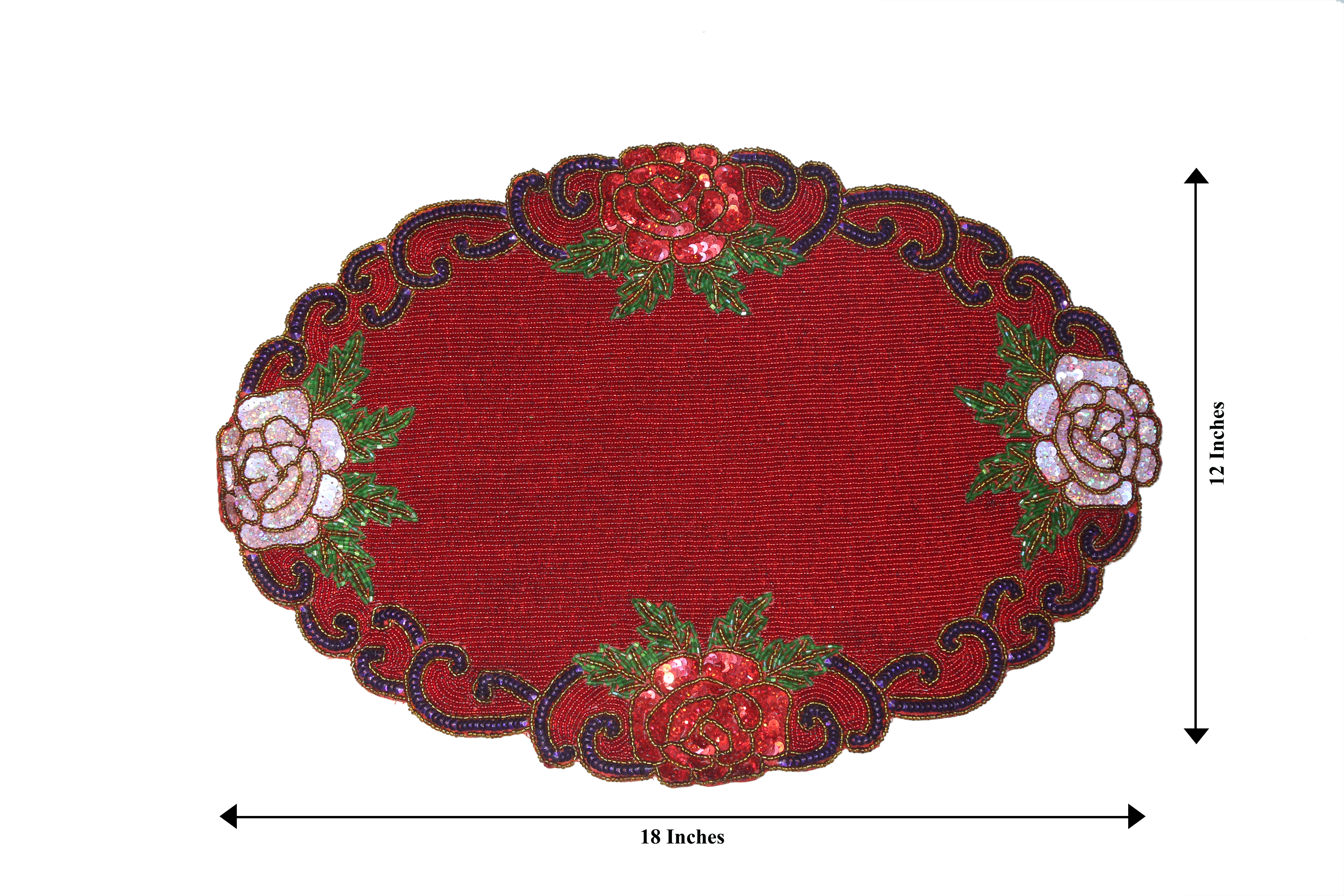 Florance Table Mats, Kitchen & Dining Black Placemats (Red, 12 x 18)