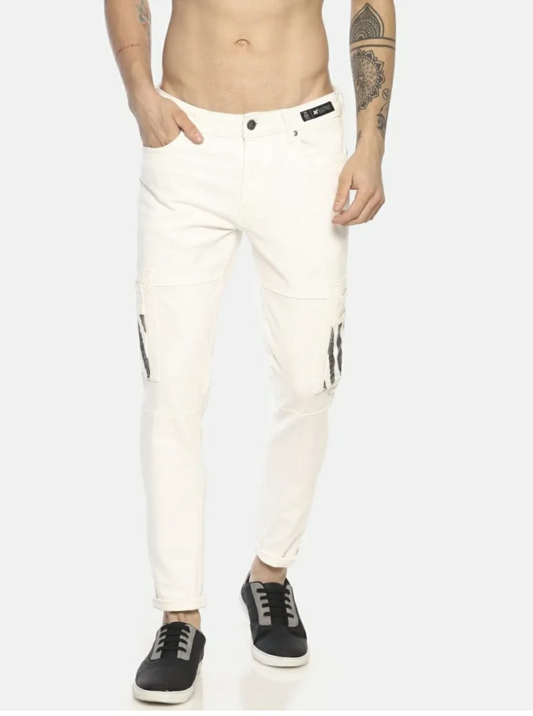 Men's White No Wash Camouflage Jeans (36,White)