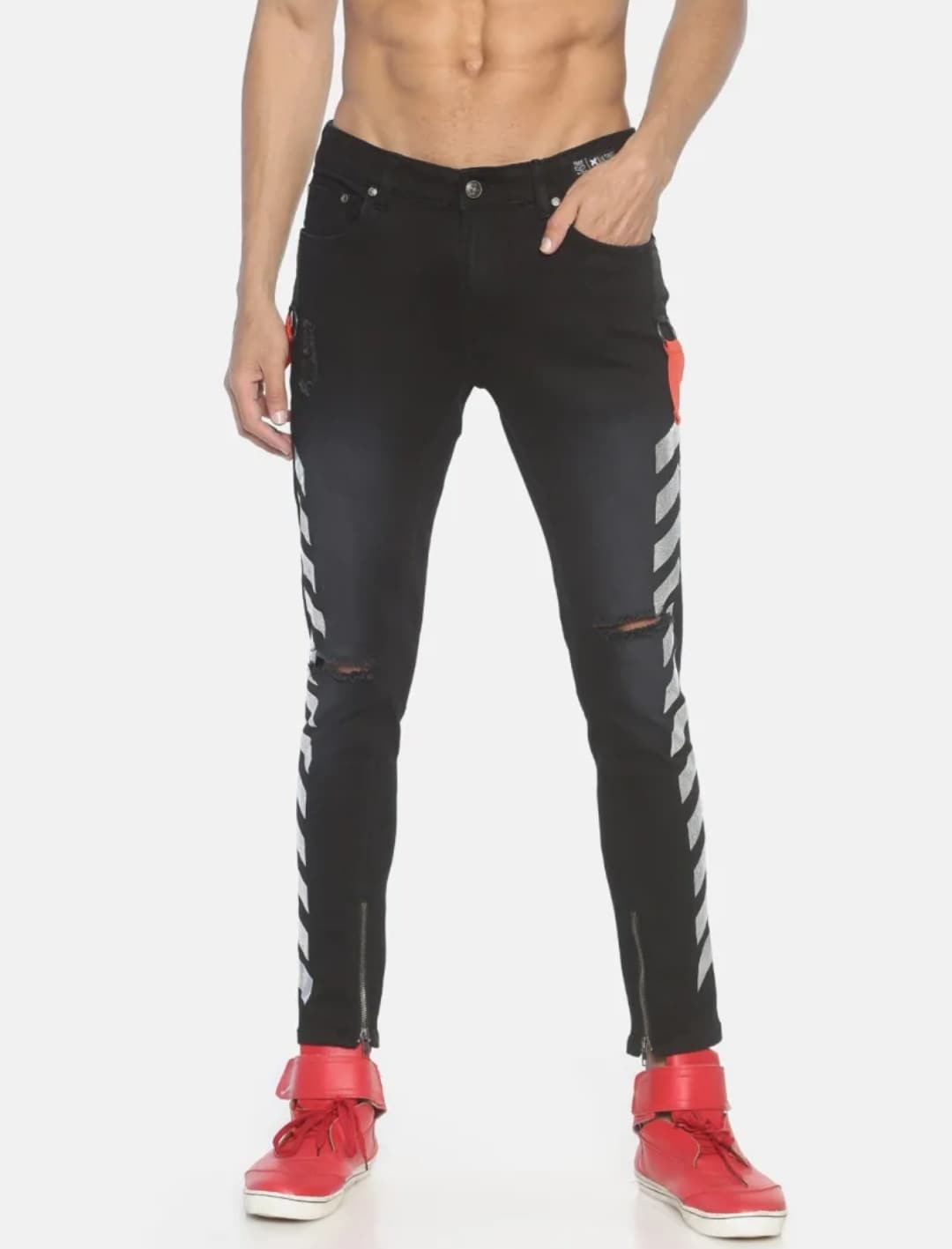 Men's Black Side Printed Jeans (30,Black)