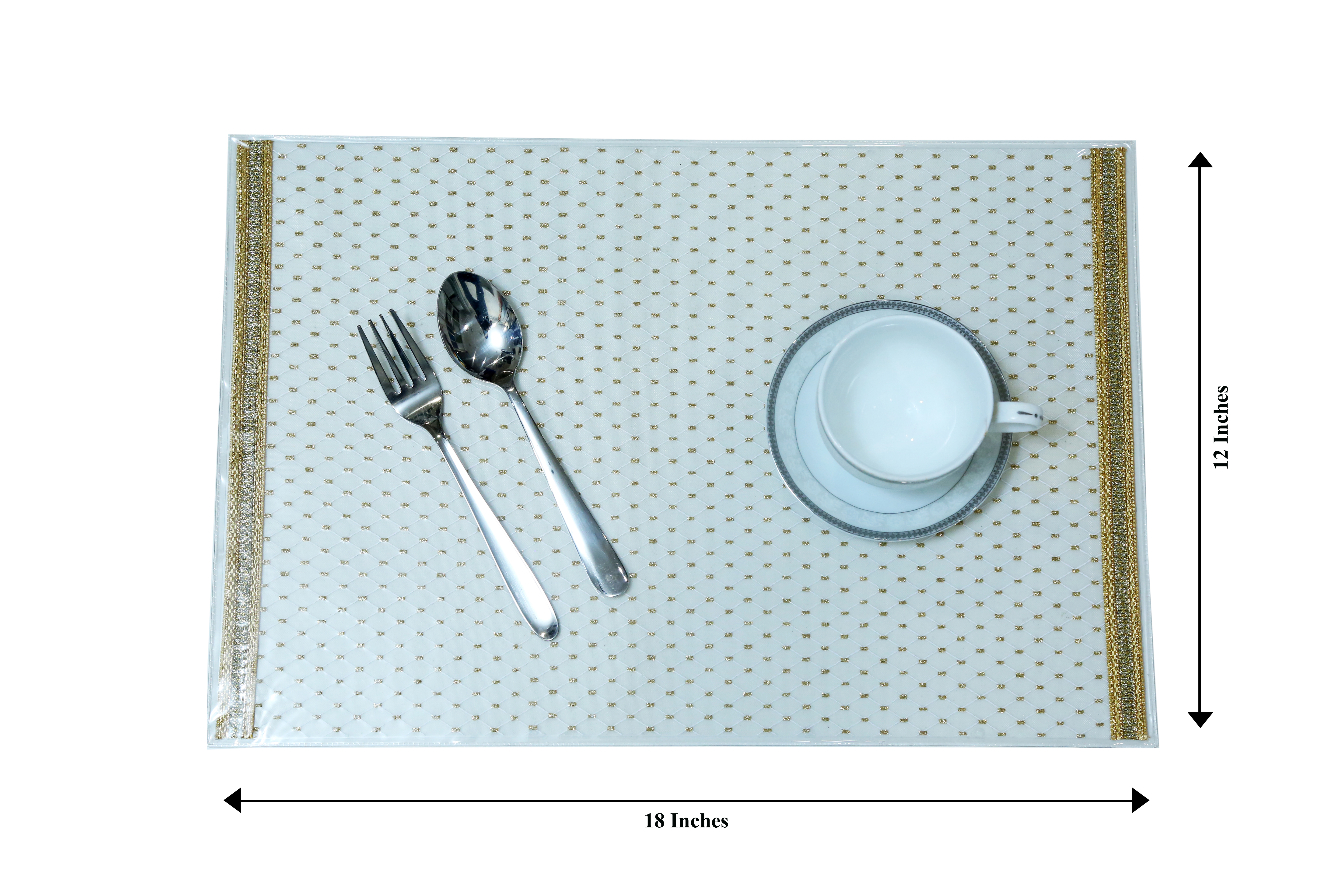 Florance Table Mats, Kitchen & Dining White Placemats Set Of 6 (White, 12 x 18)
