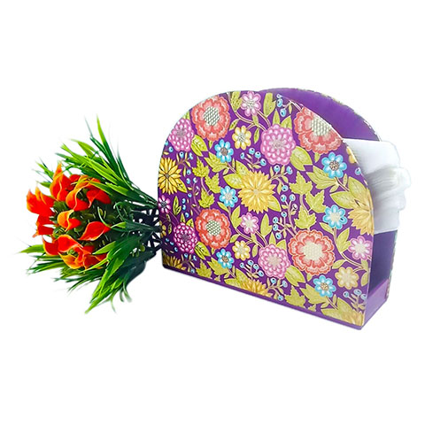 Tissue Holder - Neck Purple Multi Flower