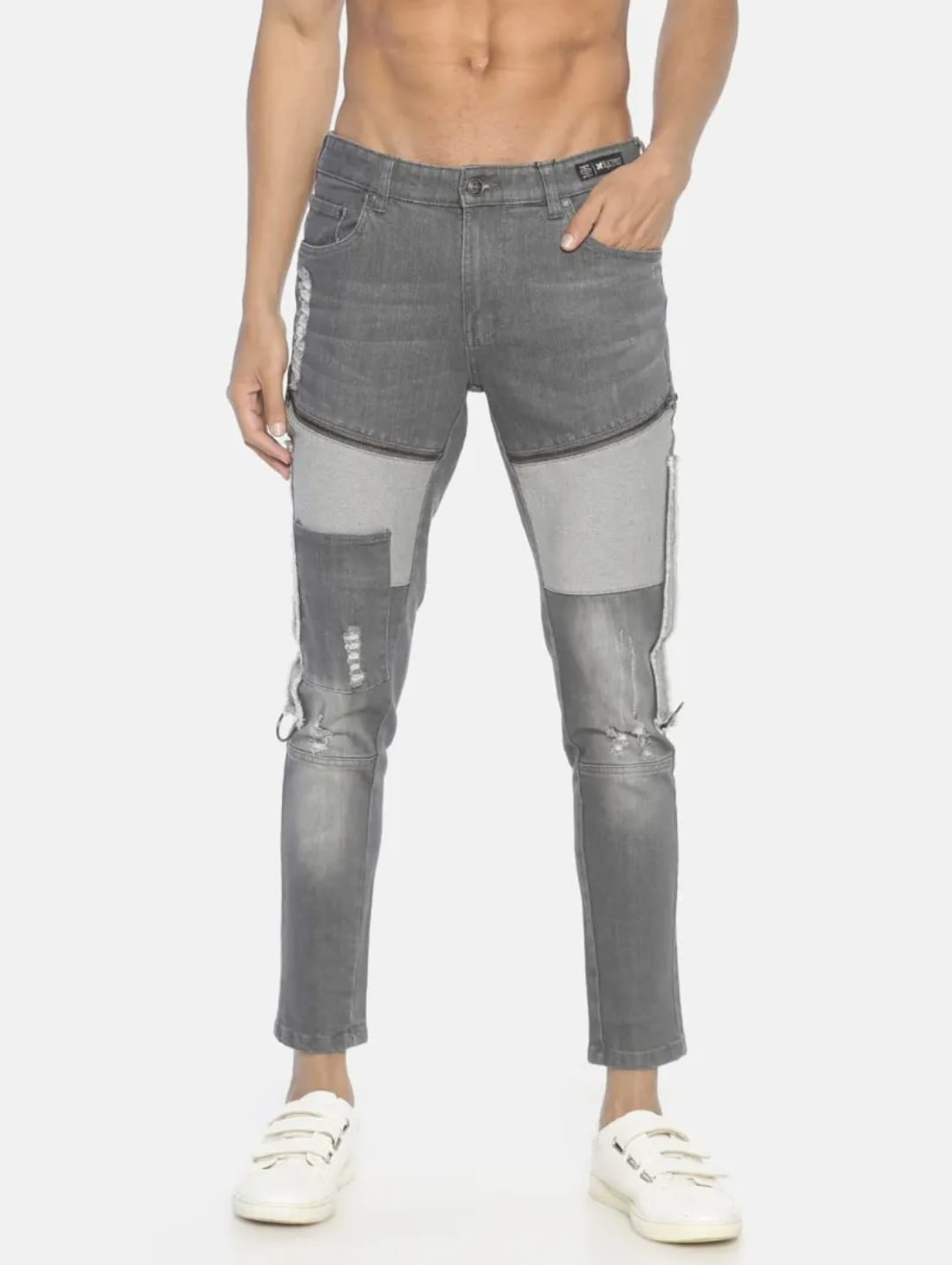 Men's Medium Wash Ombre Jeans (36,Gray)