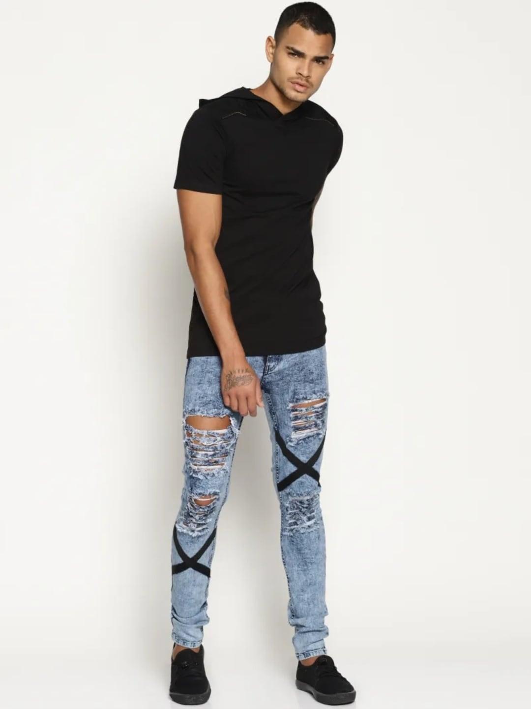 Men's Cross Patch Light Blue Jeans (36,Sky Blue)
