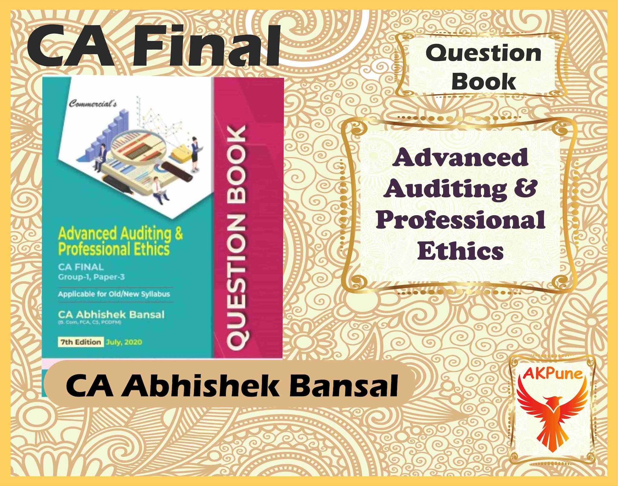 Commercial's CA Final Advanced Auditing & Professional Ethics (QUESTION BOOK) By CA Abhishek Bansal For November 2020 Exam