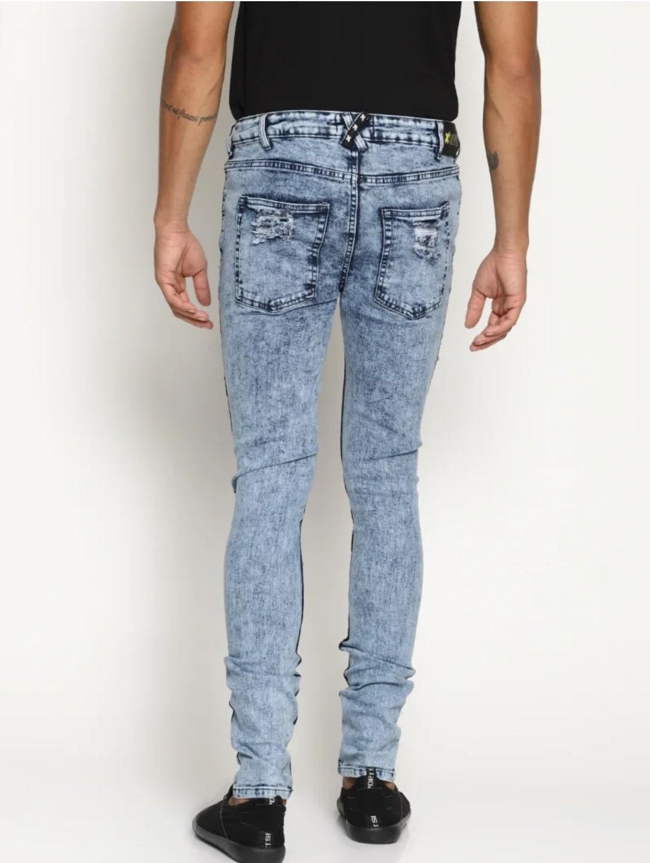 Men's Cross Patch Light Blue Jeans (34,Sky Blue)